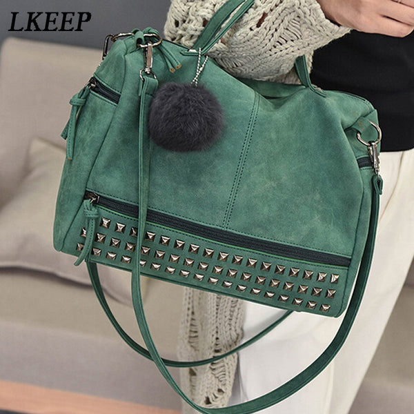 Vintage Nubuck Leather Ladies Handbags Rivet Larger Women Bags
