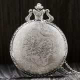 Gold Train Carved Openable Hollow Steampunk Pocket Watch