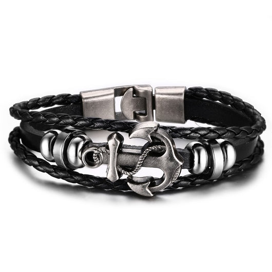 Genuine Braided Leather Charm Vintage Anchor Bracelet