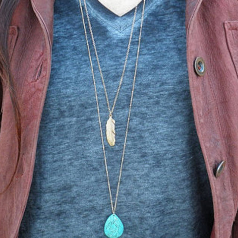Image of Turquoises Necklace Tassel Charm Necklace