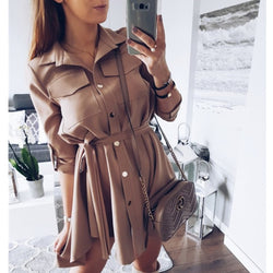 High Waist Pleated Wrap Dress