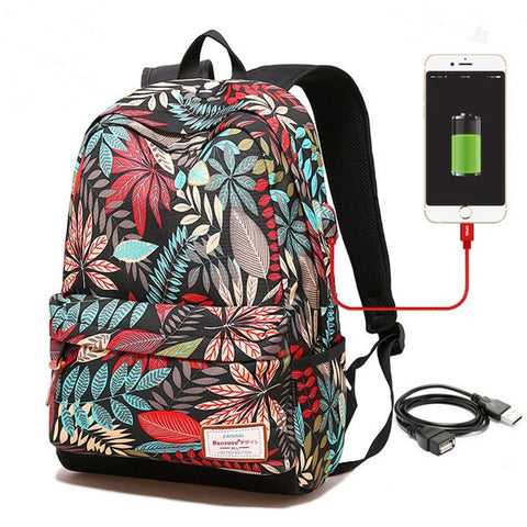 Women USB Charging Laptop Backpack