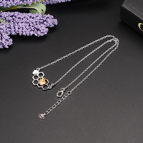 Image of Honeycomb Bee Animal Pendant Choker Necklace