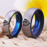 Matte Silver outside Blue inside Tungsten Carbide Ring