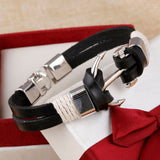 Cuff Braided Wrap Genuine Leather Anchor Bracelets & Bangles