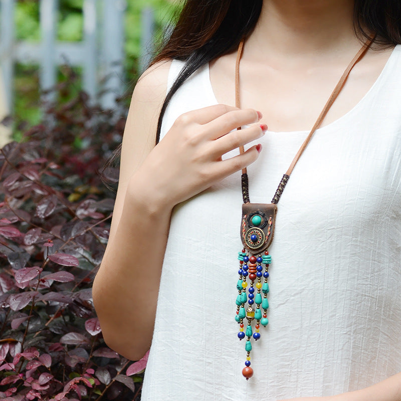 Vintage Stones Tibetan Necklace