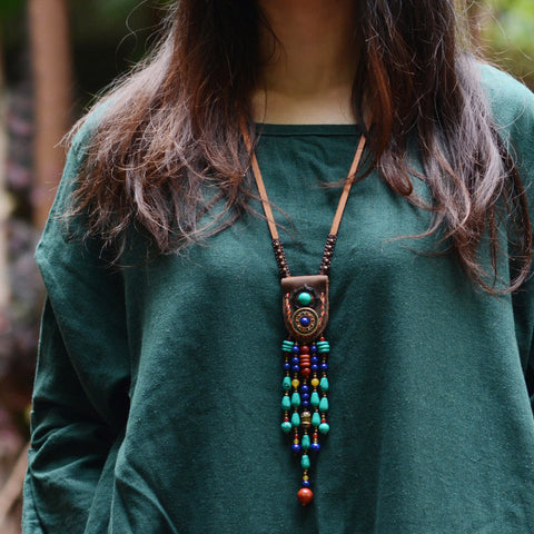 Image of Vintage Stones Tibetan Necklace