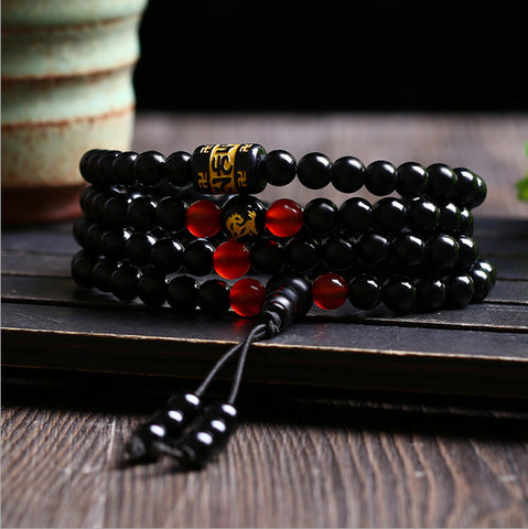 Image of 108 Beads Natural Crystal Obsidian Rosary Mala Bracelets
