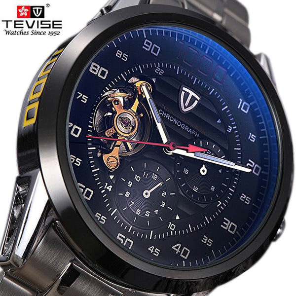 TEVISE Automatic Winding Tourbillon Mechanical Sport Watch