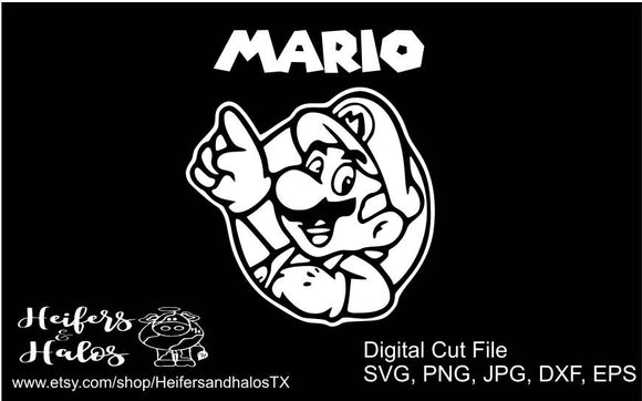 Mario svg, pdf, png, eps, dxf cut file for cricut and silhouette - t-shirts, decals, yeti cups, gamer, gaming, game - Heifers and Halos Graphics