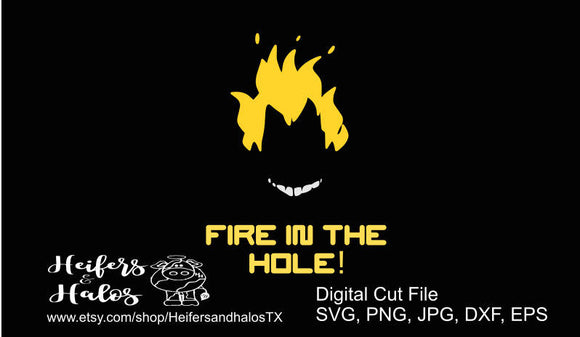 Fire in the hole Junkrat Overwatch svg, png, eps, dxf, pdf cut file, t-shirts, decals, yeti cups, video game, gamer, game svg - Heifers and Halos Graphics