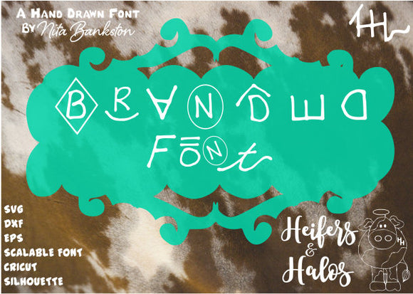 Branded Font - a handmade 363 cattle brand font - SVG, DXF, EPS for use with Cricut, Silhouette, scalable font - digital file - Heifers and Halos Graphics
