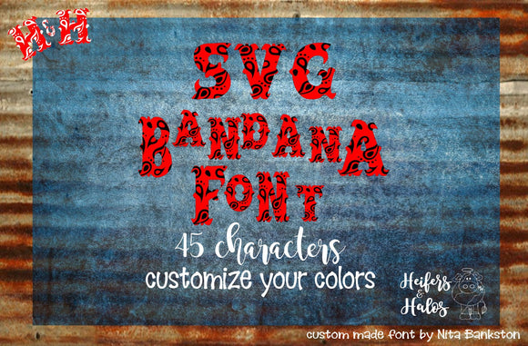 Bandana SVG Font- digital cut file for cricut and silhouette, SVG, eps, dxf western, ranchy, punchy, heifers and halos original - Heifers and Halos Graphics