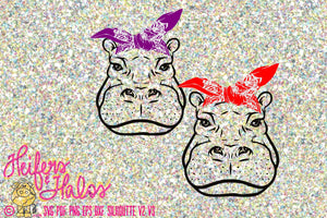 Bandana hippo digtial file, printable, digital cut file, sublimation, svg, pdf, png, eps, dxf, cricut, silhouette - Heifers and Halos Graphics