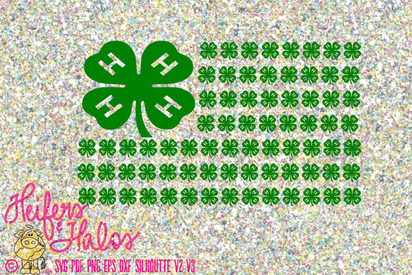4H clover flag digital cut file for cricut and silhouette, farming, showing, livestock, leadership, svg, pdf, png, eps, dxf, digital file - Heifers and Halos Graphics