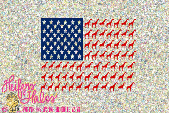 Giraffe flag USA digital file, digital cut file, sublimation, printable, cutable, scg, pdf, png, eps, dxf, Independence day, 4th of July - Heifers and Halos Graphics