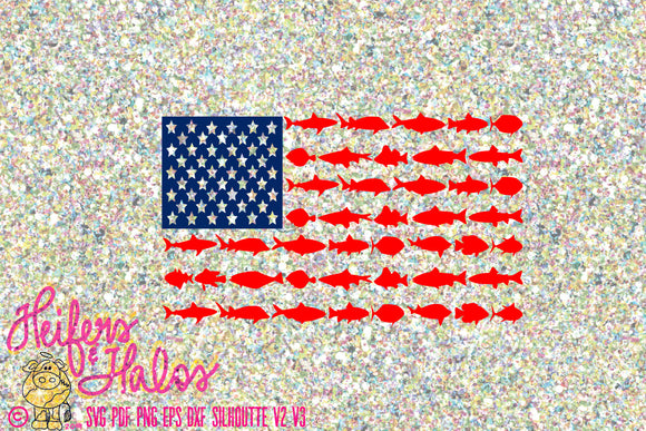 Shark and fish flag svg cut file for cricut and silhouette cameo, t-shirts, decals, yeti cups - 4th of July, Independence Day, patriotic - Heifers and Halos Graphics