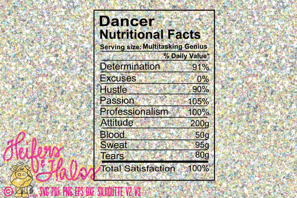 Dancer Nutritional Facts - Heifers and Halos Graphics