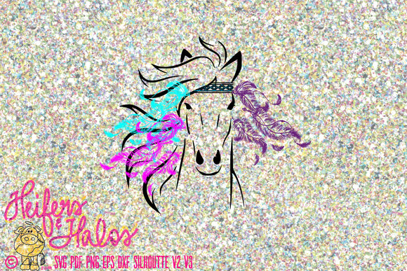 Hippie Horse svg, png, pdf, eps, cut file for cricut, silhouette.  Horse, ranchy, ranch, farm, for t-shirts, decals, yeti cups - Heifers and Halos Graphics