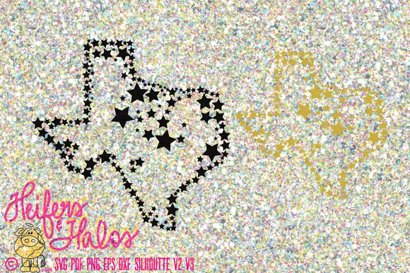 Stars over Texas svg cut file for cricut and cameo silhouette.  Use for t-shirts, decals, or yeti cups. - Heifers and Halos Graphics