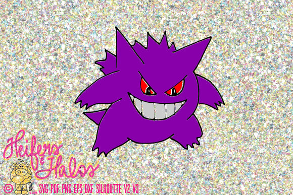 Gengar Pokemon Go digital file for sublimation, cutting, printing - Heifers and Halos Graphics