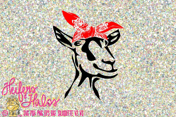 Bandana goat with tall ears digital file, printable, sublimation, digital cut file for cricut and silhouette - Heifers and Halos Graphics