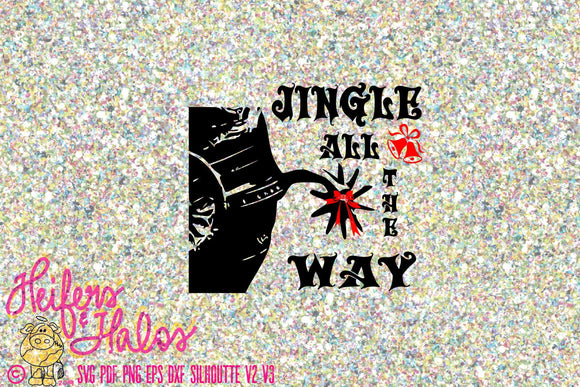 Jingle all the Way cowboy, ranchy, punchy, digital cutting file for Christmas.  Svg, pdf, png, eps, dxf, studio3, t-shirts, decal, cups spur - Heifers and Halos Graphics