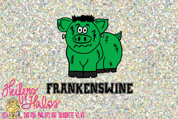 Frankenswine Halloween svg, png, pdf, eps, dxf, studio3, design t-shirts, decals, yeti cups, farming, cricut, silhouette, show hog, pig - Heifers and Halos Graphics