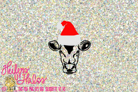 Santa Cow cattle heifer digital cut file for Christmas svg, pdf, png, eps, dxf, studio3, t-shirts, decals, cups, farming, ranching, punchy - Heifers and Halos Graphics