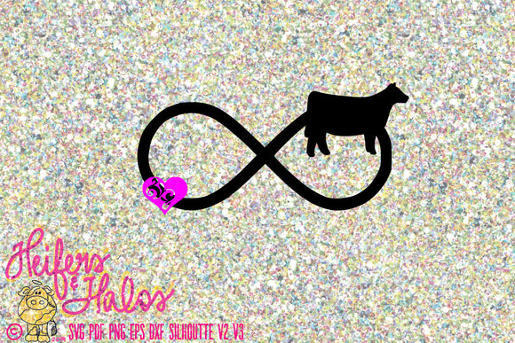 Livestock show heifer infinity with heart, digital file, svg, pdf, png, eps, dxf, studio3. studio2, t-shirt design, cup design, show cow - Heifers and Halos Graphics