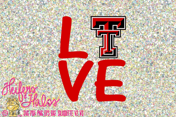 Love Texas Tech SVG CUT FILE, png, pdf, eps, dxf cut file for cricut, silhouette, cutting machines, design for t-shirts, decals, cups, etc. - Heifers and Halos Graphics