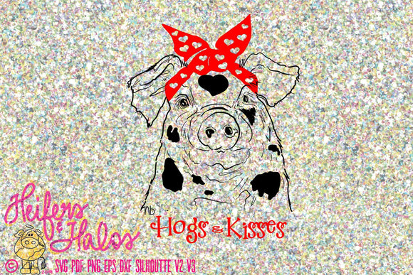 Hogs and Kisses bandana pig digital cut file svg, pdf, png, eps, dxf, studio 3 digital cut file design for shirts - Heifers and Halos Graphics