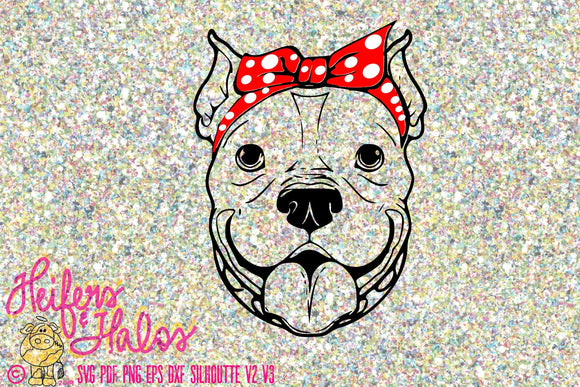 Bandana pitbull girl digital file, svg, pdf, png, eps, dxf, cricut, silhouette, printable, sublimation, digital cut file - Heifers and Halos Graphics