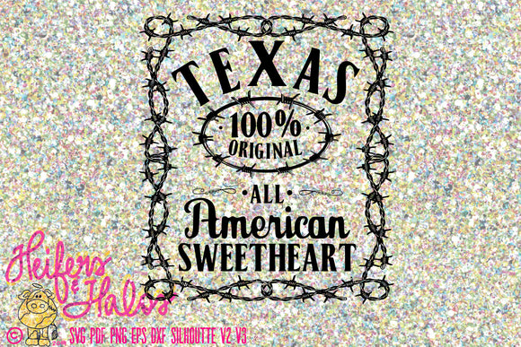 Texas all American sweetheart - great for t-shirts, decals, yeti cup design, cricut, silhouette, sure cuts a lot - Heifers and Halos Graphics