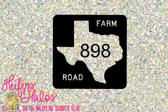 Texas Farm customizable road sign digital file, printable, digital cut file, sublimation, svg, pdf, png, eps, dxf, cricut, silhouette - Heifers and Halos Graphics