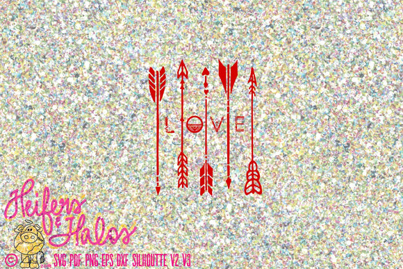 Love Arrows svg cut file for cricut, silhouette.  Boho, arrows, love svg for t-shirts, decals, yeti cups - Heifers and Halos Graphics
