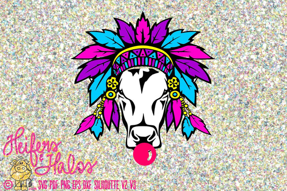 Gypsy cow heifer digital file, sublimation, printable, digital cut file, svg, pdf, png, eps, dxf, ranchy, punchy. cow svg - Heifers and Halos Graphics