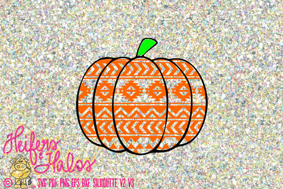 Aztec pumpkin cut file for fall, autumn, or halloween.  Digital cut file svg, pdf, png, eps, dxf, studio3, cricut, silhouette t-shirts - Heifers and Halos Graphics