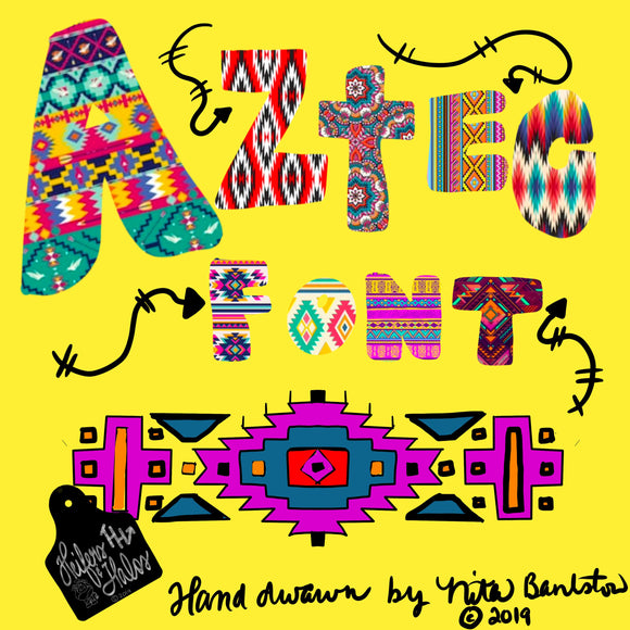 Aztec digital font, hand drawn font, digital graphic for western, PNG only, scalable font for sublimation and printing - Heifers and Halos Graphics