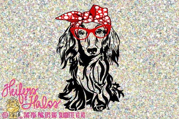 Dachshund long hair with bow bandana and glasses, digital file, cut file, sublimation, printable, decal design, t-shirt design, cut file - Heifers and Halos Graphics