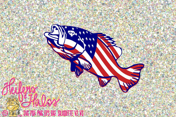 American flag Bass svg digital cut file, sublimation, printable, pdf, png, eps, dxf - Heifers and Halos Graphics