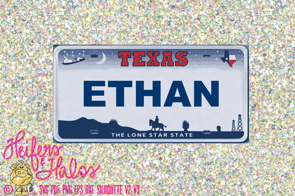 Ethan Texas License plate custom - Heifers and Halos Graphics