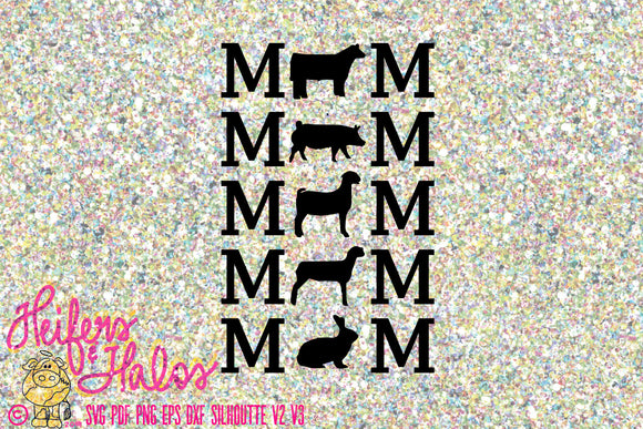 Show mom svg cut file, livestock show, FFA, 4H, for t-shirts, decals, and yeti cups.  Use with silhouette and cricut. - Heifers and Halos Graphics