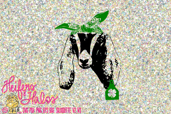 Nubian goat with bandana and lucky shamrock tag, svg, pdf, png, eps, dxf, studio3 digital file, cut file, sublimation, t-shirt design - Heifers and Halos Graphics