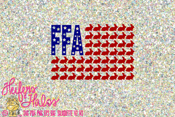 FFA rabbit flag digital file for cricut, silhouette, printing, cards, sublimation, svg, pdf, png, eps, dxf, studio3, t-shirt design - Heifers and Halos Graphics