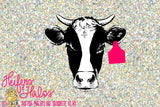 Horned heifer cow with ear tag digital cut file, digital file, printable, sublimation, svg, pdf, png, eps, dxf - Heifers and Halos Graphics
