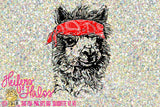 Bandana llama hand drawn digital file, sublimation, printable, digital cut file, svg, pdf, png, eps, dxf - Heifers and Halos Graphics