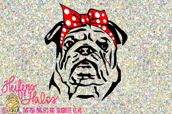 Bandana bulldog digital file, digital cut file, printable, sublimation, svg, pdf, png, eps, dxf, cricut, silhouette, shirt design - Heifers and Halos Graphics