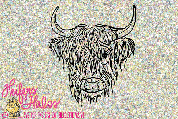 Highland steer, bull, calf, heifer, cow, digital cut file, t-shirt design,  hand drawn, svg, pdf, eps, dxf, cricut, silhouette 3, silhouette - Heifers and Halos Graphics