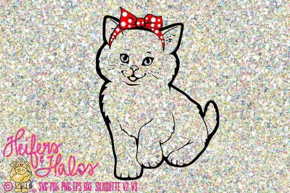 Bandana cat digital file, digital cut file, printable, sublimation, cricut, silhouette, t-shirt design, svg, pdf, png, eps, dxf - Heifers and Halos Graphics